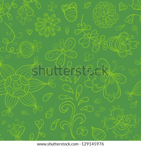 Abstract doodle seamless pattern in green colors. Stylized sun, butterfly, flowers. - stock vector