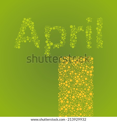 Abstract Dotted Monthly Calendar Design Elements Template, Clip-art with Label Made of Bubbles in Seasonal Colors - April - stock vector