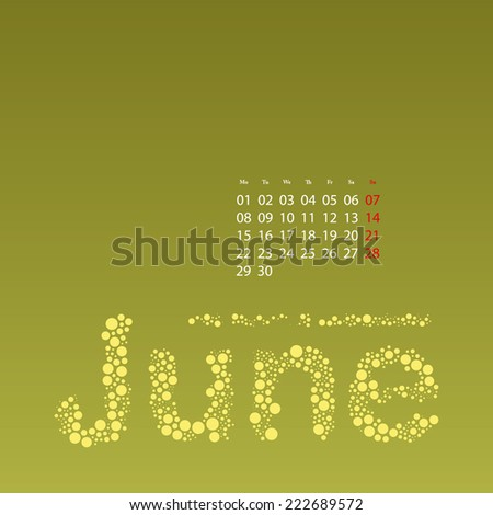 Abstract Dotted Monthly Calendar Design Elements Template, Clip-art with Label Made of Bubbles in Seasonal Colors - June, 2015 - stock vector