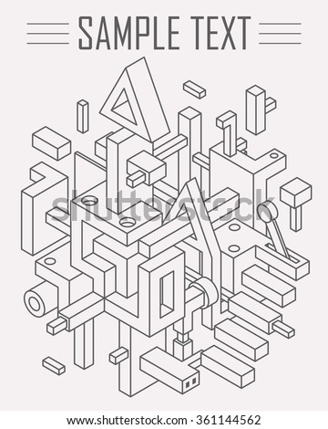 Abstract Drawing Background for Cover Design. Constructivism Modern Art. Mix of Straight  Lines and 3D Shapes - stock vector