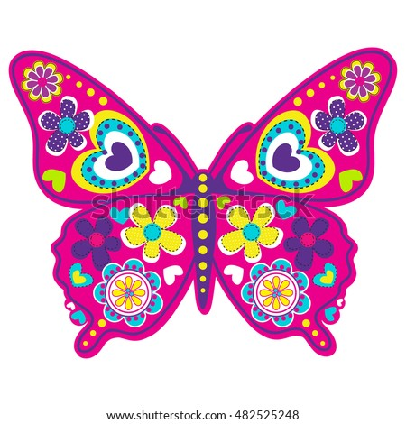 Abstract Drawing Tshirts Cartoon Colorful Butterfly Stock ...