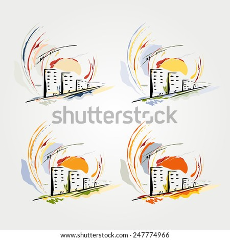 Abstract drawing of the city. A vector. - stock vector