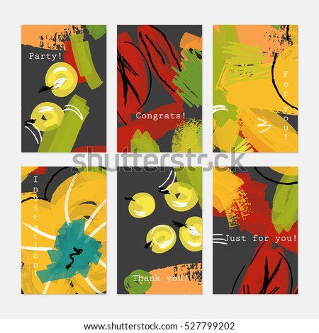 Abstract drawn berries yellow on black.Hand drawn creative invitation greeting cards.Poster placard flayer design templates. Anniversary Birthday wedding party cards.Isolated on layer.