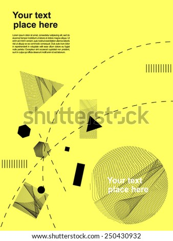 Abstract, dynamic, geometric figures, dashed curves and  line waves template with textures in the figures. Old Swiss style design banner, flyer, poster. Business, art, mathematics and science related. - stock vector