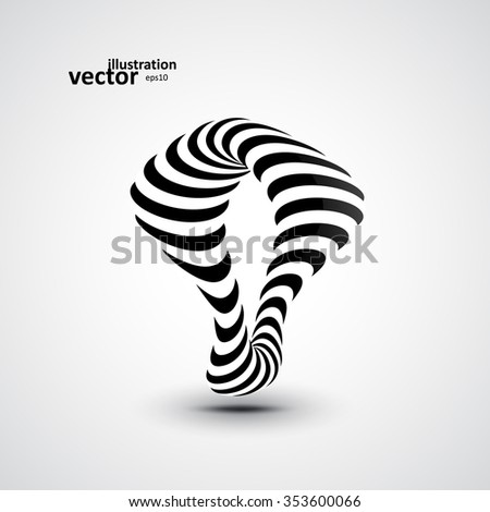 Abstract dynamic illustration, black and white 3d art eps10 - stock vector
