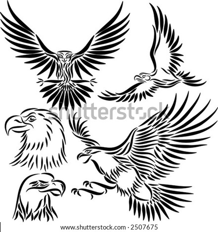 Abstract eagle, vector illustration - stock vector