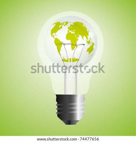 Abstract eco bulb vector illustration. (The base map from http://visibleearth.nasa.gov)