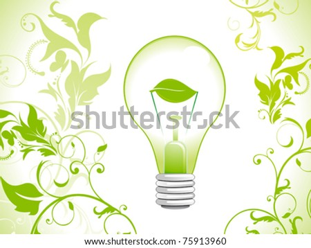 abstract eco green bulb icon vector illustration
