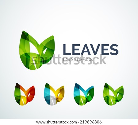 Abstract eco leaves logo design made of color pieces - various geometric shapes - stock vector