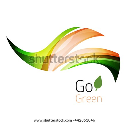 Abstract eco leaves logo design made of color pieces - various geometric shapes. Geometric nature concept. Vector colorful icon - stock vector