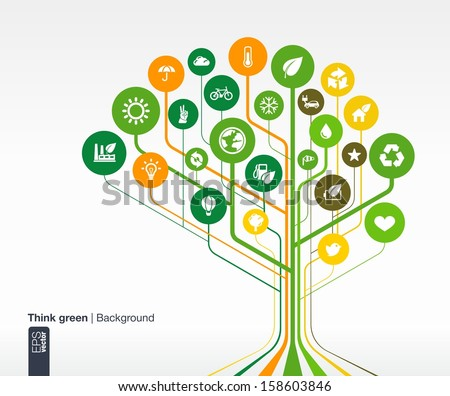 Abstract ecology background with lines and circles. Brain concept with eco, earth, green, recycling, nature, bicycle, sun, car and home icon. Vector infographic illustration. - stock vector
