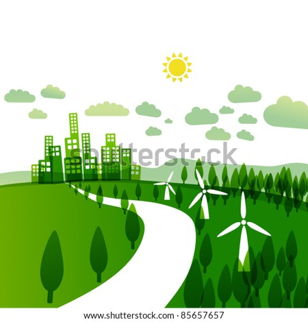 abstract ecology illustration - ecology / wind turbines concept - stock vector