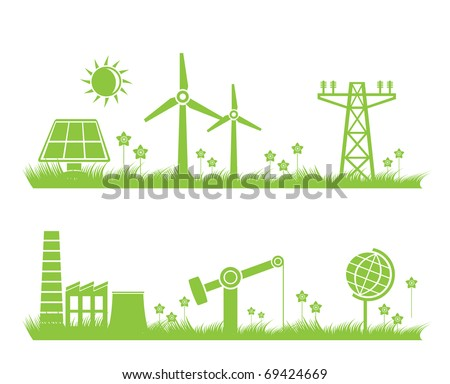 abstract ecology, industry and nature background - vector illustration - stock vector
