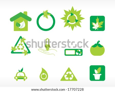 abstract ecology series icon set - stock vector