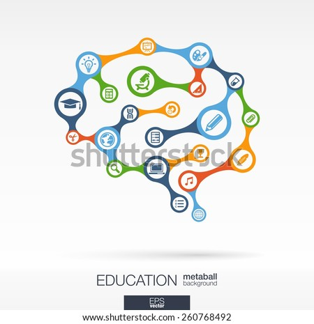 Abstract education background with connected metaball and integrated circles. Brain concept for elearning, learning, knowledge, graduation, learn and web design. Vector interactive illustration. - stock vector
