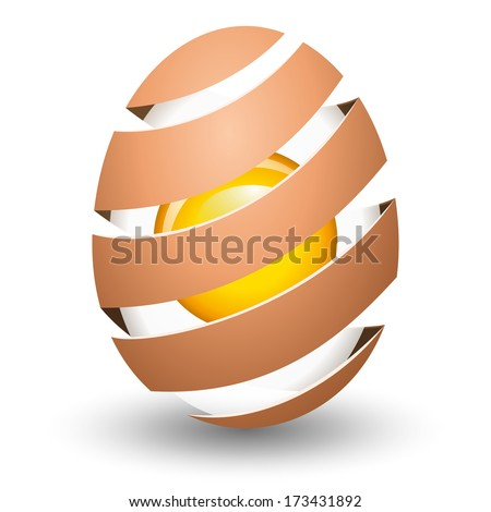Abstract egg with yolk on white background - stock vector