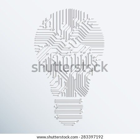 Abstract electronic computer circuit board light bulb icon.vector illustration - stock vector