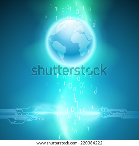 Abstract electronics blue background with circuit board texture and the earth. EPS10 vector. - stock vector