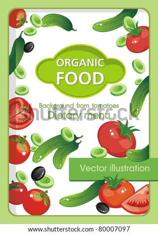 Abstract Elegance food background, Vegetable vector illustration with tomato and cucumbers - stock vector