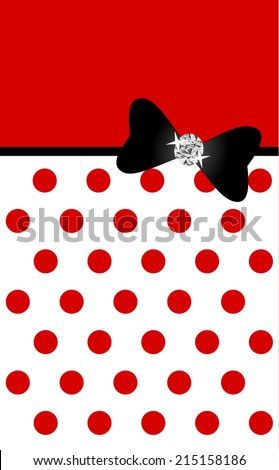 Abstract elegant and simple seamless polka dot pattern with black silk bow. red and white color design. can be use for wedding, anniversary celebration card. vector art image illustration background - stock vector
