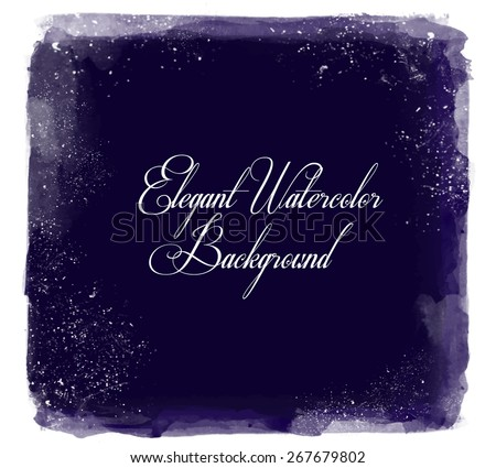 Abstract elegant bright vector watercolor  hand painted background. Text template. Summer colors. Deep blue shades. Artist collection.   - stock vector