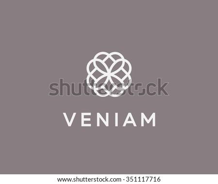 Abstract elegant flower logo icon vector design. Universal creative premium symbol. Graceful jewel vector sign. - stock vector