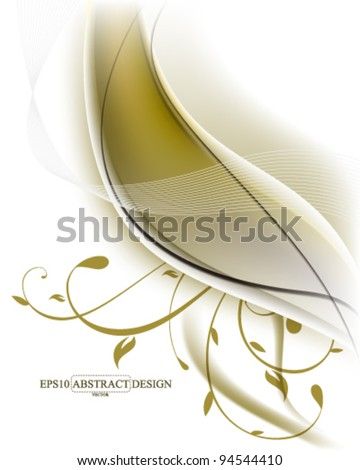 abstract elegant fractal with foliage elements illustration. eps10 vector format - stock vector
