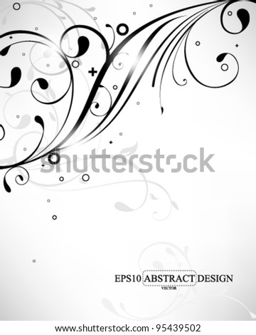 abstract elegant silhouette foliage elements illustration. eps10 vector format - stock vector