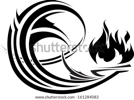 Abstract element with fire for besign or tattoo  - stock vector