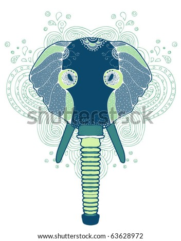 abstract elephant in gas mask t-shirt design