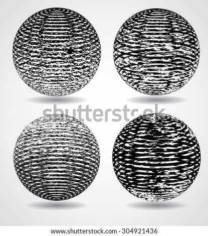 Abstract Elliptical Design Element. Vector illustration isolated on White Background. Useful Info graphic and Logo Template. Ball from Stripes in Grunge Style. - stock vector