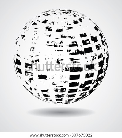 Abstract Elliptical Design Element. Vector illustration isolated on White Background. Useful Info graphic and Logo Template. Ball  in Grunge Style. - stock vector