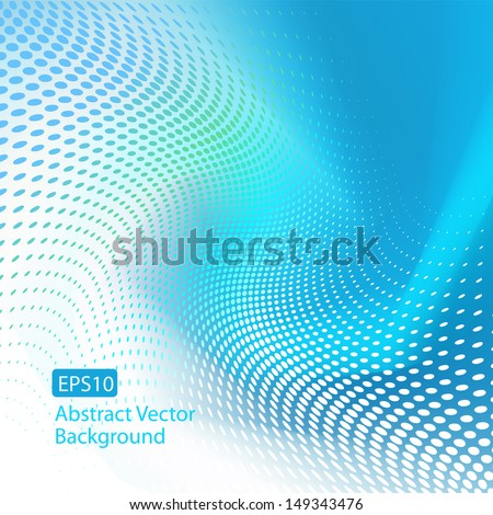 Abstract EPS10 blue wave with dots background. Plenty of copy space. - stock vector
