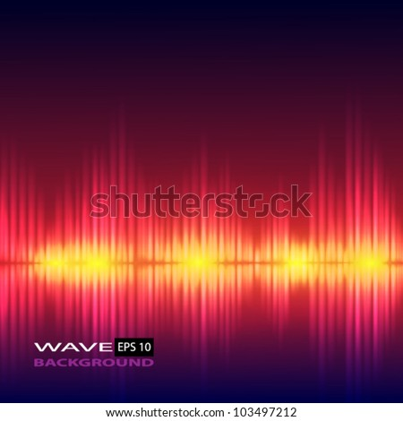 Abstract equalizer background. Red wave. - stock vector