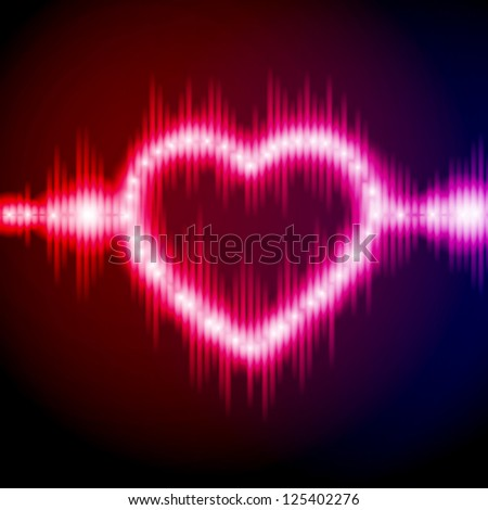 Abstract equalizer background with heart. Blue-Purple wave. EPS10 vector. - stock vector