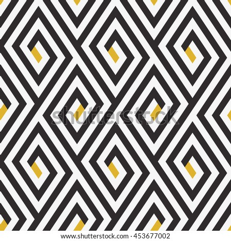 Abstract ethic geometric pattern with maze, diagonal stripes and lines in black and white with gold speckles. Op art seamless background. Simple tribal bold print with ethnic african moroccan motif - stock vector