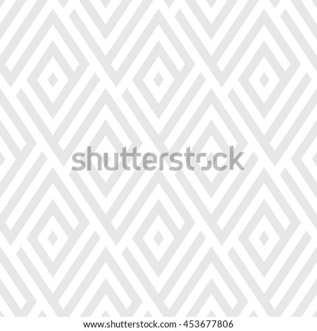 Abstract ethic geometric pattern with maze, diagonal stripes and lines in silver white. Op art seamless geometric background. Simple tribal bold print with art deco motif for wedding invitations - stock vector