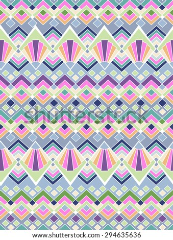 abstract ethnic geometric print ~ seamless background - stock vector