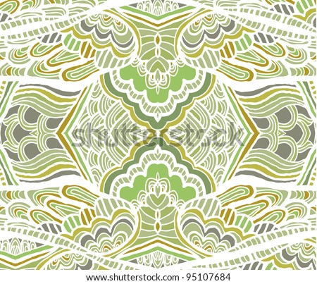 Abstract ethnic Indian patterns of the different elements, hand-drawn - stock vector
