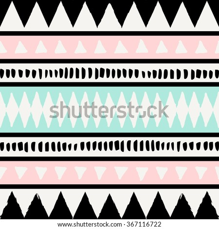 Abstract ethnic seamless repeat pattern in black, white, blue and pastel pink. Modern and stylish abstract design poster, cover, card design. - stock vector