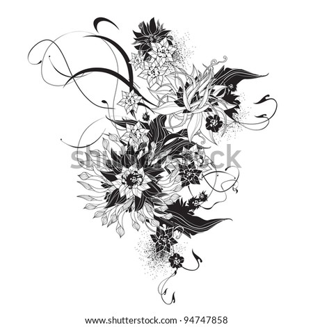 Abstract exotic flowers black and white - stock vector