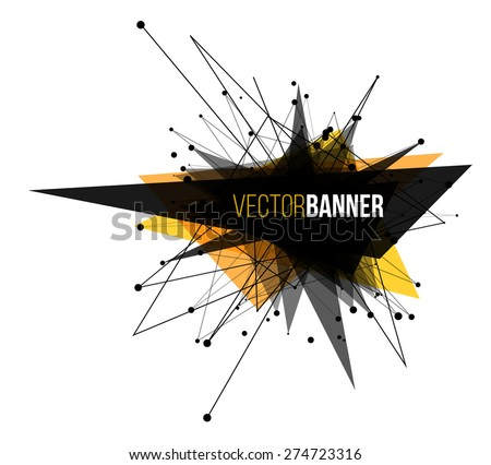 Abstract explosion banner. Lines and Dots Connection Concept. Triangle banner. Vector illustration. - stock vector