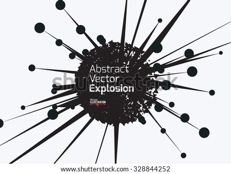 Abstract Explosion Design. A4 / A3 Horizontal Format Poster Design. Graphic Design for Electronic Music Covers, Parties, Open Airs. Vector Illustration. - stock vector