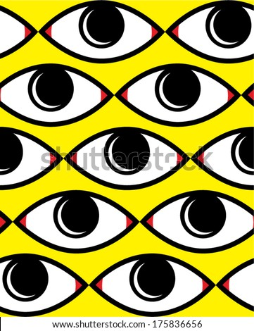 Abstract eye background vector, Seamless abstract pop art background vector. - stock vector