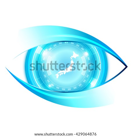 Abstract eye future technology, Japan map - stock vector