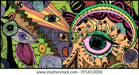 Abstract eyes, freehand ink sketch, surreal landscape with black frame, card concept. - stock vector