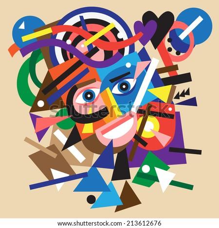 abstract face - vector cartoon - stock vector