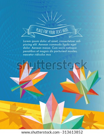 abstract fall leaf on vibrant polygonal banner - stock vector