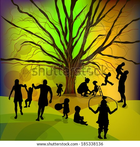 Abstract family, childhood, tree. Vector