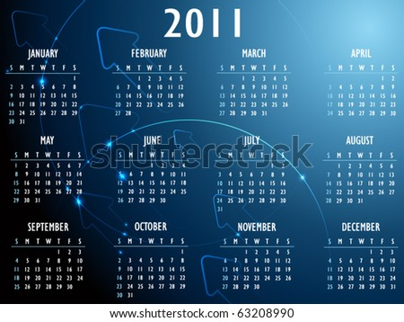 Abstract fantasy 2011 Calendar - stock vector